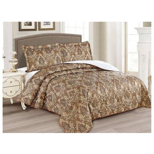 Комплект с покрывалом Cleo Gabriella 240х260 см, коричневый комплект с покрывалом cleo gabriella 240х260 см бежево зеленый