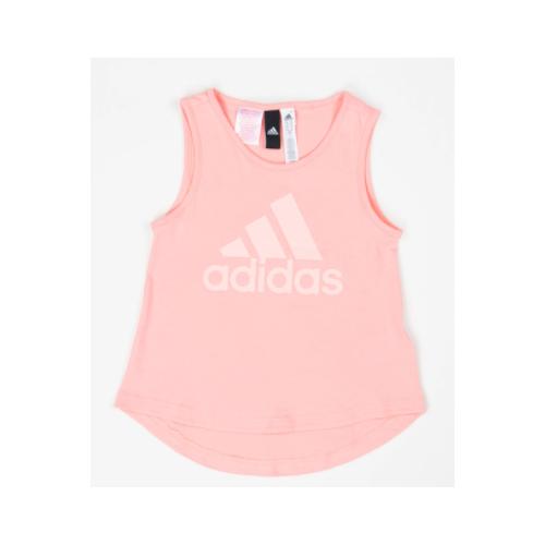 Майка adidas, размер 128, розовый adidas легинсы для девочек adidas essentials 3 stripes размер 128