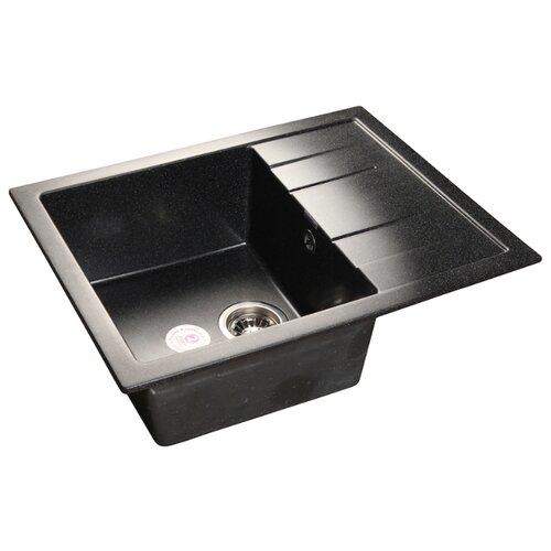 Врезная кухонная мойка 65 см GranFest Quadro GF-Q650L черный кухонная мойка черный granfest quadro gf q780l