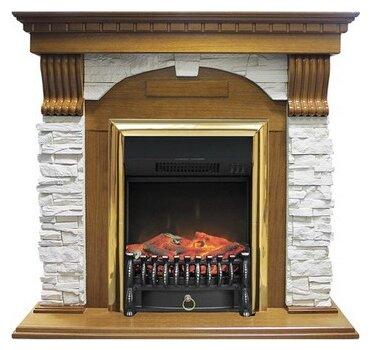 Электрический камин Royal Flame Fobos BR (дуб) + Dublin арочный сланец белый
