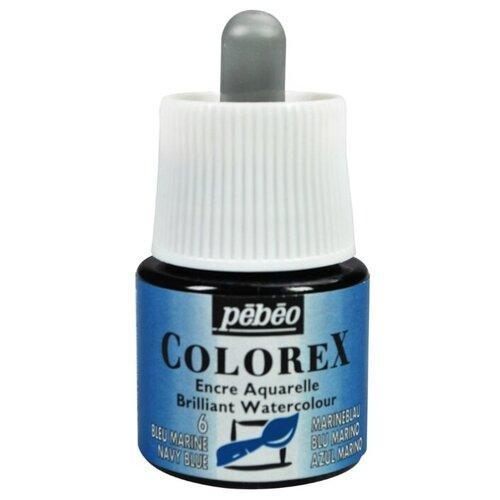 Pebeo Акварельные чернила Colorex, 45 мл 6 синий темный pebeo краска для стекла и металла vitrail лаковая прозрачная цвет 050 037 кобальт синий 45 мл