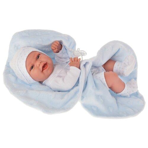 Кукла Antonio Juan Эва на голубом одеяльце, 33 см, 6025B