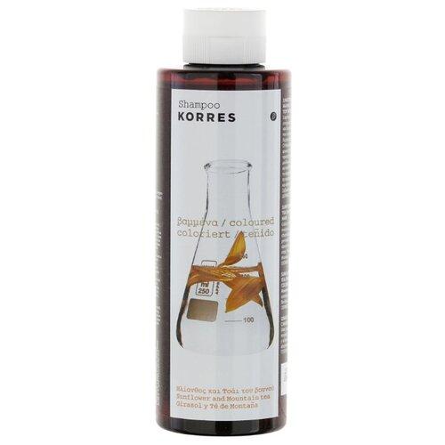 Фото - KORRES шампунь с подсолнухом и гаультерией для окрашенных волос, 250 мл шампунь korres алоэ и дикий бадьян 250 мл для нормальных волос