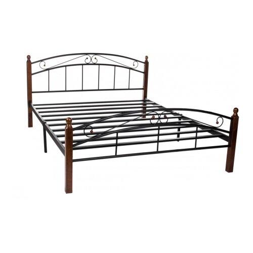 Кровать TetChair AT-8077 двуспальная, размер (ДхШ): 210х164.7 см, спальное место (ДхШ): 200х160 см, каркас: массив дерева, цвет: коричневый/черный