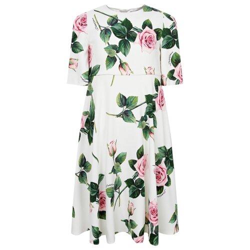 Платье DOLCE & GABBANA размер 140, белый/цветочный принт