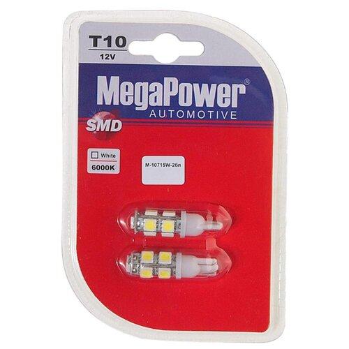 Фото - Лампа автомобильная светодиодная MegaPower 10715W-2бл W5W (T10) 12V 10W 2 шт. 2pcs t10 w5w 80w cree xqb chip led hid