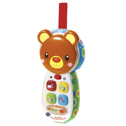 Интерактивная развивающая игрушка VTech Телефон Отвечай и играй белый/коричневый/голубой развивающая игрушка 52431 коричневый