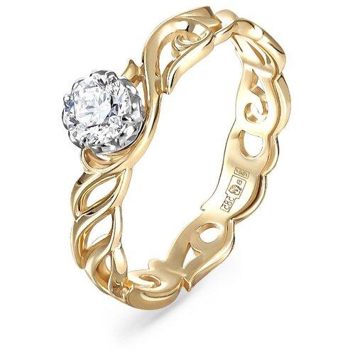 Фото - KABAROVSKY Кольцо с 1 бриллиантом из жёлтого золота 1-2503-1000, размер 18 kabarovsky кольцо с 1 бриллиантом из жёлтого золота 11 2999 1000 размер 18