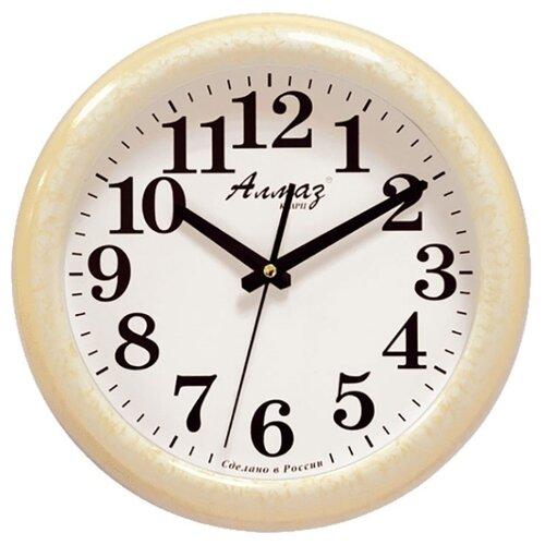 Часы настенные кварцевые Алмаз H32-H35 светло-бежевый/белый часы настенные кварцевые алмаз h32 h35 светло бежевый белый