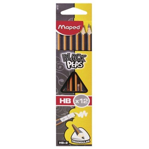 Купить Maped Набор чернографитных карандашей Black Pep's 12 штук (851721), Карандаши
