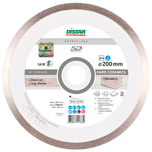Фото - Диск алмазный отрезной 200x1.6x25.4 Di-Star 1A1R Hard Ceramics (11120048015) 1 шт. диск отрезной 125x1 6x22 23 3m
