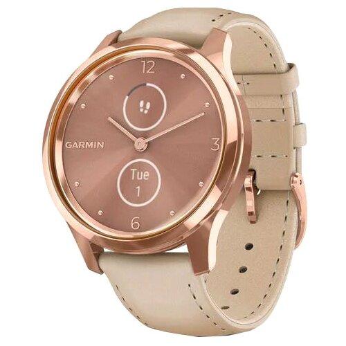 Часы Garmin Vivomove Luxe с кожаным ремешком песочный/золото умные часы garmin vivomove 3 черные с черным силиконовым ремешком
