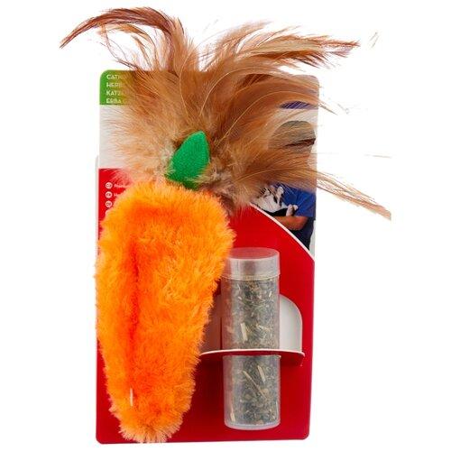 Набор игрушек для кошек KONG Морковь с тубом кошачьей мяты (NH4) оранжевый