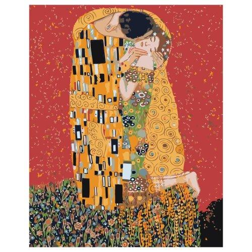 Купить Золотой поцелуй, Густав Климт Раскраска картина по номерам на холсте Z-AB186 40х50, Живопись по номерам, Картины по номерам и контурам