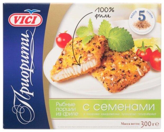 Vici Рыбные порции из филе замороженные Приорити в панировке с семенами коробка 300 г