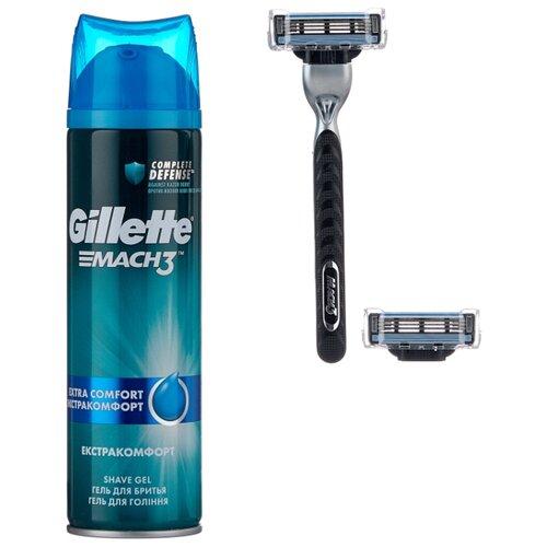 Набор Gillette подарочный дорожная косметичка, гель для бритья Mach3 Extra Comfort 200 мл, бритвенный станок Mach3 набор mach3 гель для бритья