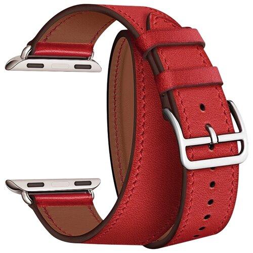 Lyambda Ремешок двойной кожаный Meridiana для Apple Watch 42/44 mm красный lyambda ремешок двойной кожаный meridiana для apple watch 38 40 mm черный