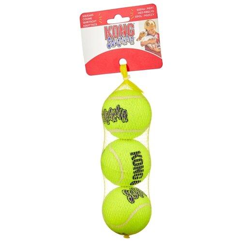 Мячик для собак KONG Air теннисный средний, 3 шт (AST2E) желтый