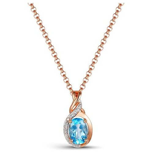 ЛУКАС Подвеска с топазом и бриллиантами из красного золота P01-D-1983088DB-R17