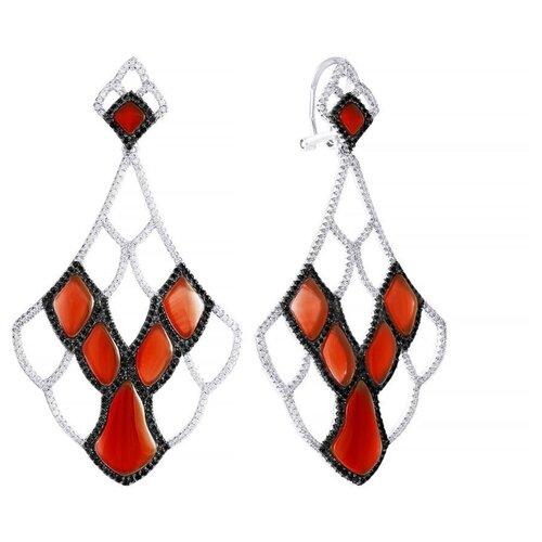 JV Серьги с агатами и фианитами из серебра AES34518W-KAG-XXX-WG