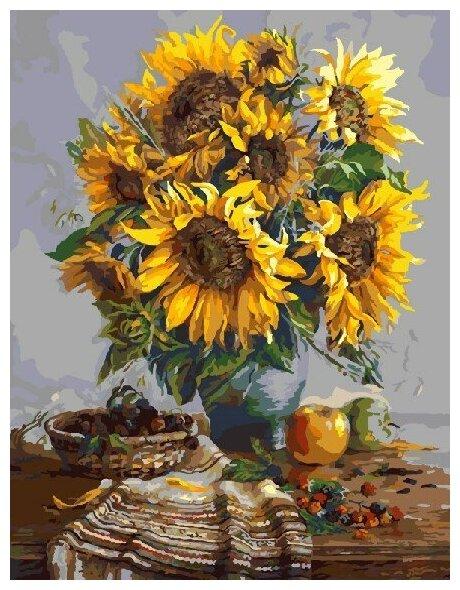 Купить Картины по Номерам на Холсте 40х50 Натюрморты - Подсолнухи | Холст на Подрамнике по низкой цене с доставкой из Яндекс.Маркета (бывший Беру)