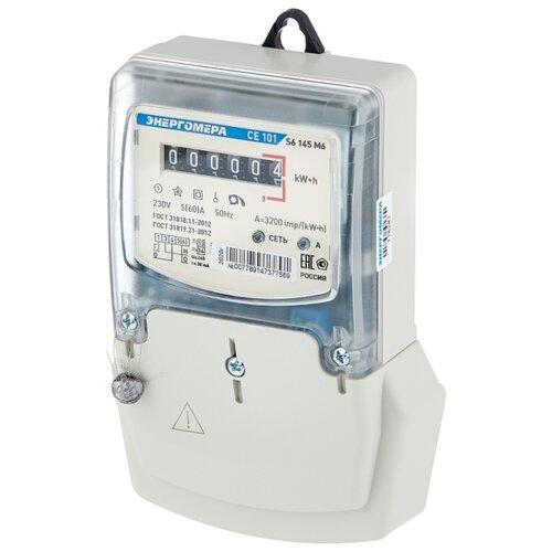 Счетчик электроэнергии однофазный однотарифный Энергомера CE 101 S6 145 M6 5(60) А счетчик электроэнергии однофазный однотарифный энергомера ce 101 r5 145 5 60 а
