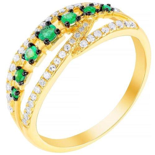 цена на JV Кольцо с бриллиантами и изумрудами из жёлтого золота R50540A1S14YB001-KO-EM-YG, размер 18