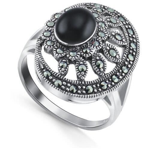 Silver WINGS Кольцо с ониксами и марказитами из серебра 210026-300-39, размер 16.5