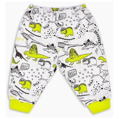 Брюки Веселый Малыш Динозаврик 33170/one размер 74, серый/желтый брюки веселый малыш морской котик 33170 one размер 80 молочный серый синий