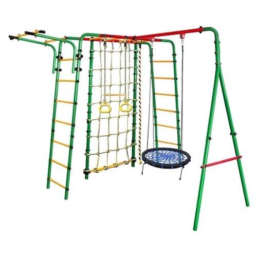 Спортивно-игровой комплекс Kampfer Kindisch + качели-гнездо (62 см) зеленый/синий