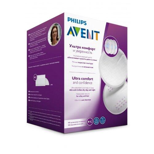 Купить Philips AVENT Одноразовые вкладыши в бюстгальтер универсальные (SCF254/13) белый 100 шт., Прокладки для груди