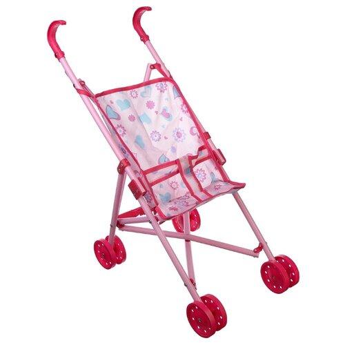 Купить Прогулочная коляска ИГРОЛЕНД 200058993 (267550) розовый, Коляски для кукол