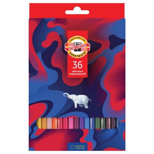 KOH-I-NOOR Карандаши цветные Элефант, 36 цветов (3555036036KS) карандаши элефант 24 цвета