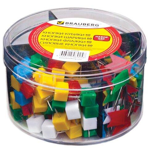Купить BRAUBERG Набор кнопок 223518 (240 шт.) ассорти, Скрепки, кнопки