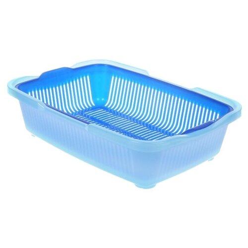 туалет для кошек dd style догуш с сеткой цвет синий голубой 30 5 х 42 х 10 5 см Туалет-лоток для кошек DDStyle Догуш 236 49х36х12.5 см синий/голубой 1 шт.
