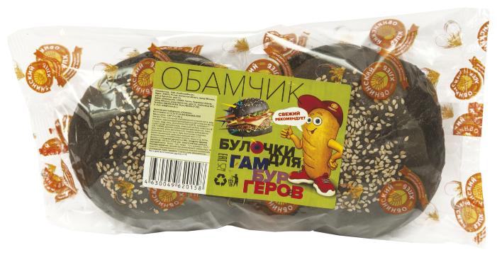 """Обнинский Хлеб Булочки для гамбургеров """"Обамчик"""" ржаные с кунжутом 180 г"""