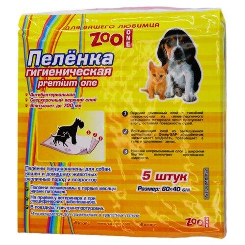 Пеленки для собак впитывающие ZooOne Premium One 60х40 см 5 шт. пеленки для щенков многоразовые впитывающие zooone 6040m 60х40 см бордовый