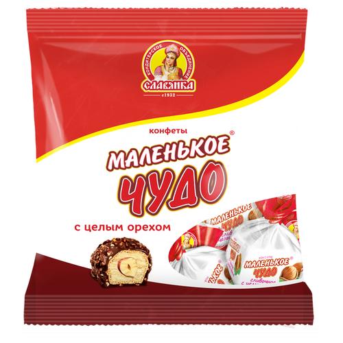 Конфеты Славянка Маленькое чудо, сливочное с целым орехом, пакет 206 г