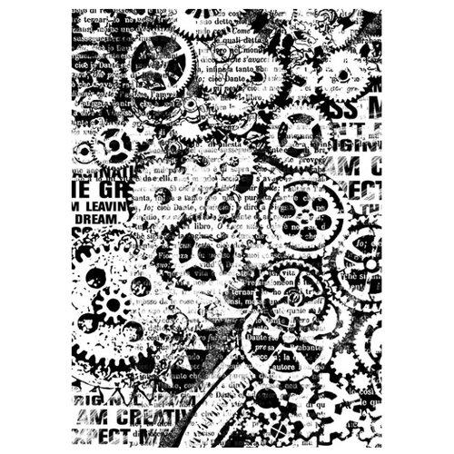 Купить Бумага рисовая мини - формат Механизмы 21 х 29, 7 см (A4) 1 лист, Stamperia, Карты, салфетки, бумага
