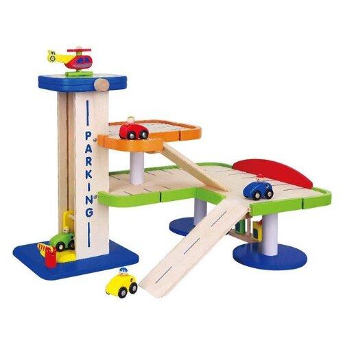 Купить Viga 59690 бежевый/красный/голубой/зеленый/оранжевый, Детские парковки и гаражи