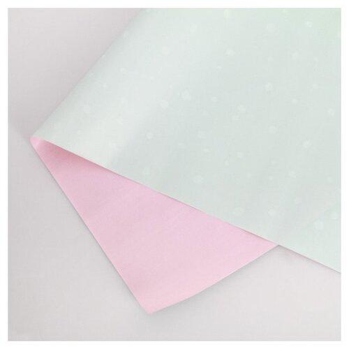"""Бумага упаковочная Дарите счастье """"Мята и розовый закат"""" 0,68 х 8 м бирюзовый/розовый"""