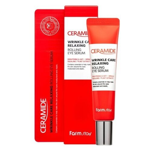 Купить Farmstay Укрепляющая сыворотка с керамидами для кожи вокруг глаз Ceramide Wrinkle Care Relaxing Rolling Eye Serum, 25 мл