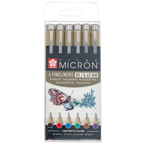 SAKURA Набор капиллярных ручек Pigma Micron 05, 6 цветов (POXSDK056A), фиолетовый цвет чернил