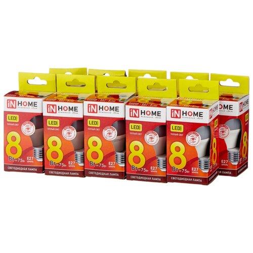 Упаковка светодиодных ламп 10 шт In Home LED-VC 600lm, E27, P45, 8Вт упаковка светодиодных ламп 10 шт in home led vc 820lm e27 p45 11вт