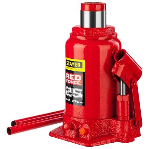 Домкрат бутылочный гидравлический STAYER Red Force 43160-25_z01 (25 т) красный