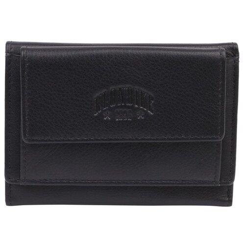 Мини-бумажник KLONDIKE Claim, натуральная кожа в черном цвете, 10,5 х 2 х 7,5 см