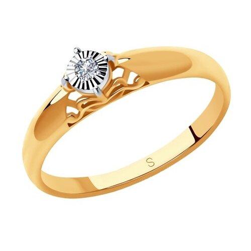SOKOLOV Золотое помолвочное кольцо с бриллиантом 1011212, размер 17 золотое кольцо ювелирное изделие 01k626002