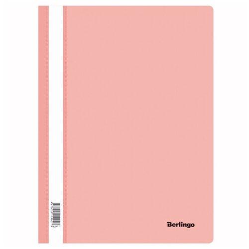 Папка-скоросшиватель пластик. Berlingo, А4, 180мкм, фламинго с прозрачным верхом, упаковка 20 шт.