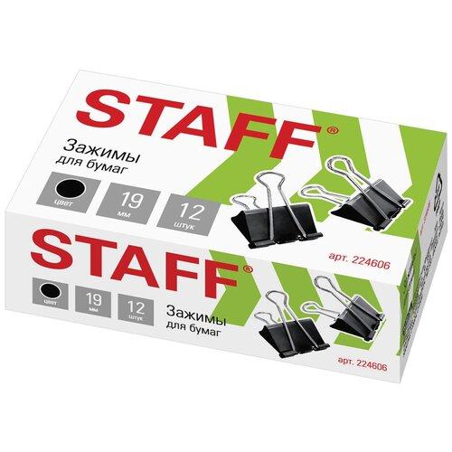 Купить STAFF Зажимы для бумаг (225156/224606) 19 мм (12 шт.) черный, Скрепки, кнопки
