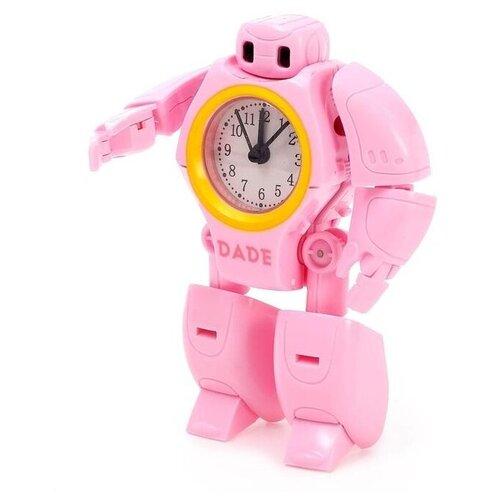 Купить Робот-трансформер Будильник , звуковые эффекты, цвет розовый 4855648, Dade Toys, Роботы и трансформеры